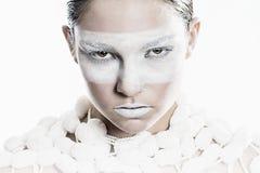Modellera i vit Fotografering för Bildbyråer