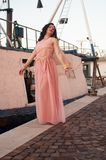 Modellera på havet i vinter, med långt le för rosa färgklänning royaltyfri bild