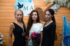 Modellera showen av vårkläder September 9, 2018 i Cherkasy Ukraina den fria ingången royaltyfri fotografi