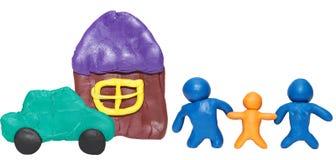 Modellerende klei gelukkige familie Stock Afbeeldingen