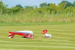 Modellflygplanskrasch Arkivfoto
