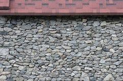 Modellgrå färgfärg av yttersida för vägg för sten för modern stildesign dekorativ sprucken verklig med cement, röd asfaltsingel Arkivfoto
