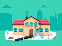 Modellhus, hustangenter och avtal: fastighet-, lån- och investeringbegrepp royaltyfri illustrationer