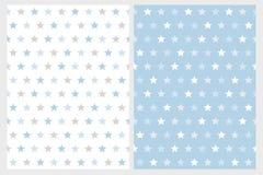 Modelli astratti di vettore della stella Stelle bianche, grigio chiaro e blu royalty illustrazione gratis