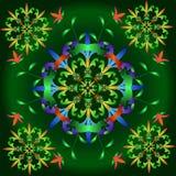 Modelli astratti multicolori su un fondo verde illustrazione vettoriale