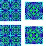 Modelli blu simmetrico geometrico e verde senza cuciture per le mattonelle, il plaid, il tappeto, copriletto Fotografia Stock Libera da Diritti