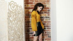 Modelli in blusa e gonna alla moda con le pose scure di trucco in studio sul tiro di foto su fondo del muro di mattoni