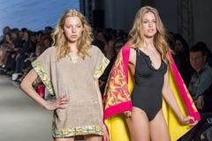 Modelli con il costume da bagno che posa nella sfilata di moda immagini stock libere da diritti