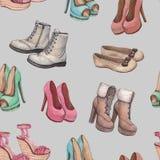 Modelli con l'illustrazione delle scarpe illustrazione vettoriale