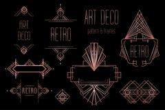 Modelli d'annata di Art Deco ed elementi di progettazione Retro geome del partito illustrazione di stock