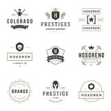 Modelli d'annata di progettazione del logos messi Elementi di progettazione di vettore, Logo Elements Fotografia Stock
