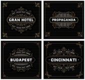 Modelli d'annata, hotel, ristorante, affare o boutique di logo Fotografie Stock