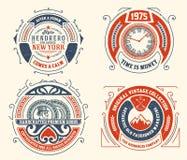 Modelli d'annata, hotel, ristorante, affare o boutique di logo Fotografia Stock