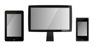 Modelli dei dispositivi digitali in bianco - monitor, Smart Phone e compressa dell'affissione a cristalli liquidi Fotografia Stock