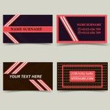 Modelli del biglietto da visita Colori il marrone scuro con il rosa, con le bande e le stelle illustrazione di stock