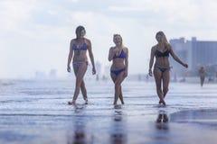 Modelli del bikini alla spiaggia Fotografia Stock
