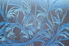 Modelli del ghiaccio su vetro fotografia stock