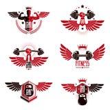 Modelli del logotype del club di sport della palestra del peso massimo e di forma fisica, retro royalty illustrazione gratis