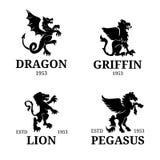 Modelli del monogramma di vettore Pegaso di lusso, progettazione del leone ecc Illustrazione graziosa delle siluette degli animal Fotografia Stock Libera da Diritti