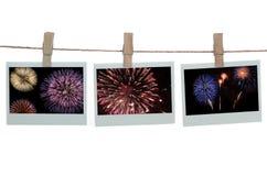 Modelli del Polaroid con i fuochi d'artificio Immagine Stock