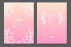 Modelli delicati dell'invito di nozze Progettazione rosa con le piante bianche astratte Tepmlates lussuosi per i risparmi Immagine Stock Libera da Diritti