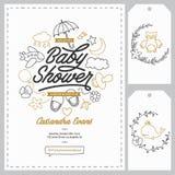 Modelli dell'invito della doccia di bambino messi Illustrazione d'annata disegnata a mano Fotografia Stock