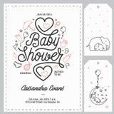 Modelli dell'invito della doccia di bambino messi Illustrazione d'annata disegnata a mano illustrazione di stock