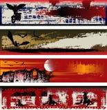 Modelli della bandiera di Web di Halloween Fotografie Stock