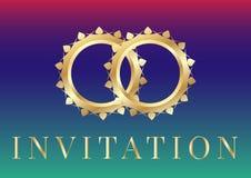 Modelli della carta dell'invito di nozze con le fedi nuziali dorate su fondo iridescente illustrazione vettoriale