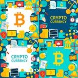 Modelli della carta di Bitcoin Cryptocurrency Fotografie Stock Libere da Diritti