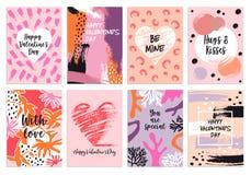 Modelli della carta di giorno s del ` s del biglietto di S. Valentino, insieme di vettore Fotografia Stock