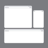Modelli della finestra di browser di Internet messi Fotografie Stock Libere da Diritti