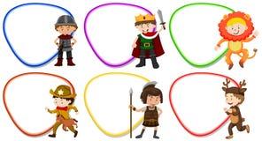 Modelli della pagina con i bambini in costume illustrazione vettoriale