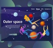 Modelli della pagina Web per spazio cosmico sito Web e pagina d'atterraggio mobile illustrazione di stock