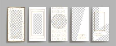 Modelli della struttura dell'oro di storie di Instagram illustrazione di stock