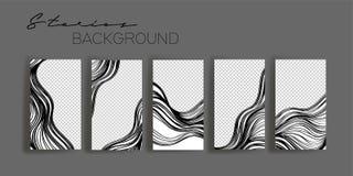 Modelli della struttura di storie di Instagram Modello per l'insegna sociale di media Progettazione astratta in bianco e nero del royalty illustrazione gratis
