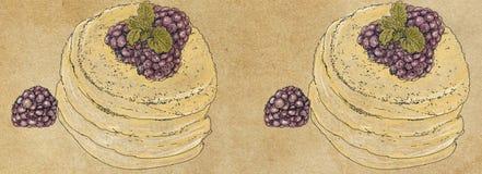 Modelli delle insegne con le pasticcerie della crema e della frutta Immagini Stock Libere da Diritti