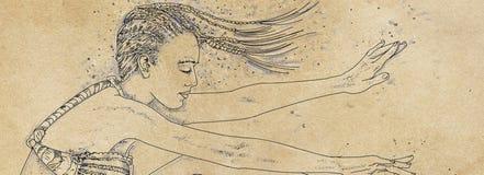 Modelli delle insegne ritratto della donna con progettazione della sabbia, annata Fotografia Stock Libera da Diritti