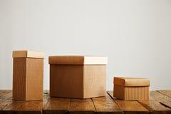 Modelli delle scatole di cartone ondulate marroni in bianco Fotografie Stock