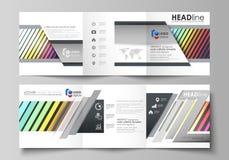 Modelli di affari per gli opuscoli quadrati ripiegabili Copertura dell'opuscolo, disposizione di vettore Rettangoli luminosi di c Fotografia Stock