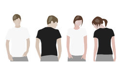Modelli di disegno della maglietta (parte anteriore & parte posteriore) illustrazione di stock
