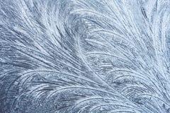 Modelli di gelo sulla finestra di inverno Immagini Stock Libere da Diritti