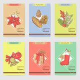 Modelli di Holly Christmas Vintage Greeting Cards royalty illustrazione gratis