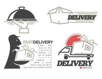 Modelli di logo di consegna messi per la posta della posta, l'alimento o il servizio di distribuzione precisa del negozio del onl Fotografia Stock Libera da Diritti