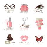 Modelli di logo di modo e di bellezza royalty illustrazione gratis