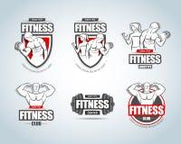 Modelli di logo di forma fisica messi Logotypes del club della palestra Concetti creativi del club di forma fisica di sport Logot royalty illustrazione gratis