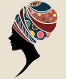 Modelli di moda africani della siluetta delle donne Immagini Stock Libere da Diritti