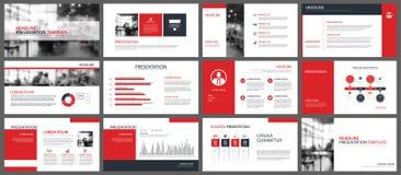 Modelli di presentazione e fondo rossi degli elementi di infographics Immagini Stock