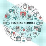 Modelli di progettazione di seminario di affari di vettore, linea icone di arte illustrazione di stock