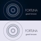 Modelli di progettazione nei colori blu e grigi Logo creativo della mandala, icona, emblema, simbolo Immagine Stock Libera da Diritti